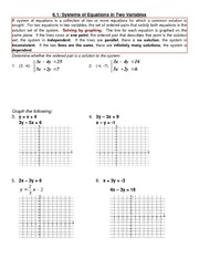 Systems of Equations Problem Set