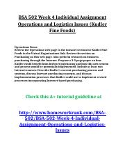 BSA 502 Week 4 Individual Assignment Operations and Logistics Issues (Kudler Fine Foods).doc