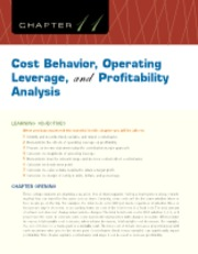 Chapter 11 Cost Behavior, Operating Leverage, and Profitability Analysis