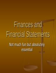 Lesson XI- Finances and Financial Statements