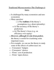 Traditional Microeconomics-Challenges