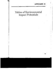Tables of Environmental Impact Potentials