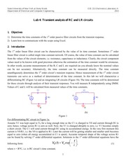 Lab 4- Transient Analysis of RC and LR Circuits A