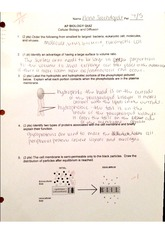 cell bio and diffusion quiz