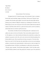 Thesis Statement For Descriptive Essay My Last Duchess Ela Essaydocx Reflection Paper Essay also English Essay Writing Help My Last Duchess Documents  Course Hero Thesis Statement Examples For Persuasive Essays