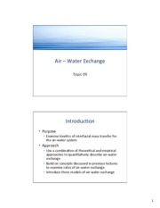 Topic 09 - Air-Water Exchange
