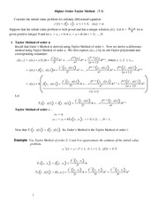 Lecture Notes on Higher-Order Taylor Method