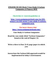 STRAYER CIS 505 Week 7 Case Study 3 Carlson Companies.doc
