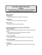 Chp. 5 notes Inventory