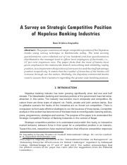 a survey on strategic competitive position of nepalese banking industries-ra krishna kayastha