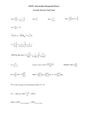Formula for FIN322 Final Exam Winter 2011 - Copy