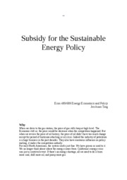 Subsidy for the sustainable energy policy - Jen-kuan Ting