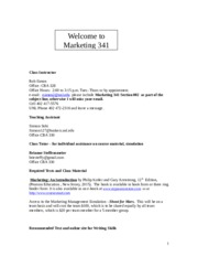 Marketing 341 Syllabus Sping 2015 Sec 002