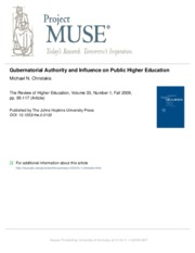 Gubernatorial Authority and Influence on Public Higher Education