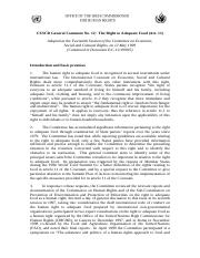 CESCR General Comment No. 12 The Right to Adequate Food (Art. 11)