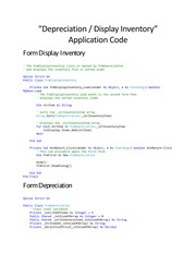 Depreciation -- Display Inventory Code