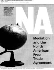 NAFTA mediation and the north american free trade