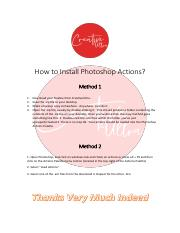 How to Install Photoshop Actions pdf - How to Install Photoshop