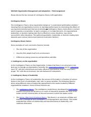 MGT224 Organization Management and Adaptation – Third Assignment 3