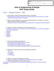 Ied Eoc Study Guide 1 2 Docx Name Date Hr Intro To Engineering Design Eoc Study Guide Unit 1 U2013 Design Process U2013 19 1 How Might We Create The Best Course Hero