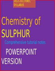 Chemistry of Sulphur pwpts
