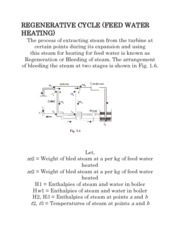 REGENERATIVE CYCLE (FEED WATER HEATING)
