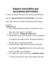 Negative externalities and government