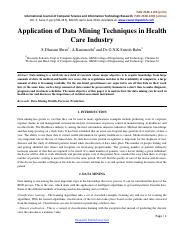 Application of Data Mining Techniques in Health Care Industry-269