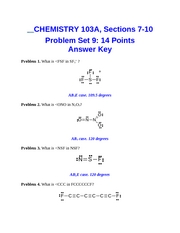 Problem Set 9 Key CHEM103A Dr. Keller