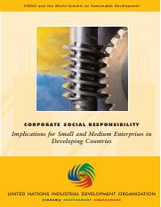 Corporate social responsibility  implications for small and medium enterprises in developing countri