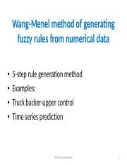 Wang-Menel fuzzy rule generation.ppt