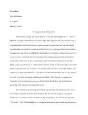 Essay About Healthy Food To Kill A Mockingbird Essay Courage  Ryan Hicks Mrs Mcgonigal  English   Courageous Acts Of Protection I Learned That Courage Was Not The Absence  Of Narrative Essay Topics For High School Students also Business Law Essay Questions To Kill A Mockingbird Essay Courage  Ryan Hicks Mrs Mcgonigal   Essays About Business