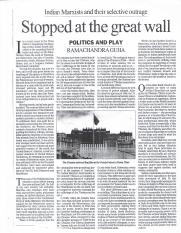 Article on Stopped at the great wall by Ramachandra Guha