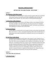 CCC Prayer Outline Section 1 - PART FOUR CHRISTIAN PRAYER SECTION