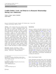 3 Conflict Beliefs, Goals, and Behavior in Romantic Relationships During Late Adolescence