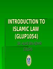 INTRODUCTION TO ISLAMIC LAW (GLUP1054)