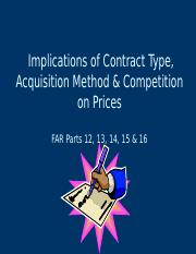 2 Implications of Competition, Contract Type & Acquisition Method on Price