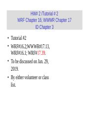 Week3 ppt - HW#3/Tutorial 3 WRF Chapter 17 WWWR Chapter 18 ID