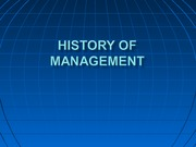 History of Management