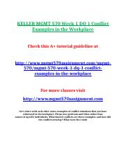 KELLER MGMT 570 Week 1 DQ 1 Conflict Examples in the Workplace.doc