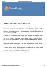 Introduction to Redistribution - Networklessons
