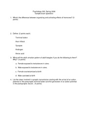 Sample Exam Questions 1
