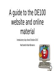 A guide through the DE100 website and on