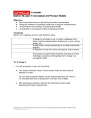Section 2-1 Database Design - Conceptual and Physical Models HW