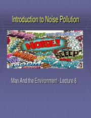 Lecture 8- Noise Pollution