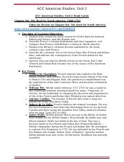 ACC American History Unit 2 Test Study Guide Chapter 6