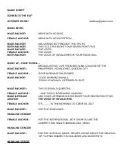 News broadcast script for students tagalog