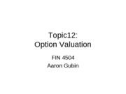 Topic 12 OptionValuation