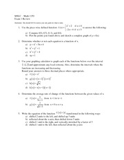 Piece wise defined function Exam