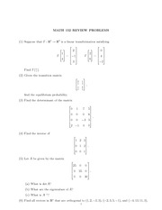 MATH 152 REVIEW PROBLEMS